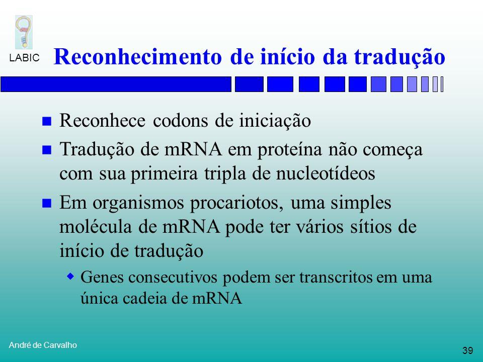 38 André de Carvalho LABIC Busca por sinal Promotor na posição 3? Classificador Posição 1 = C Posição 2 = T Posição 3 = T Posição 4 = A Posição 5 = C
