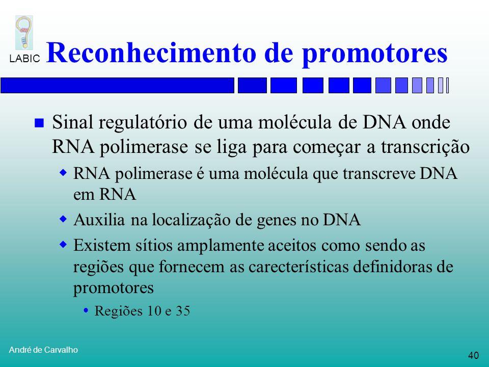 39 André de Carvalho LABIC Reconhecimento de início da tradução Reconhece codons de iniciação Tradução de mRNA em proteína não começa com sua primeira