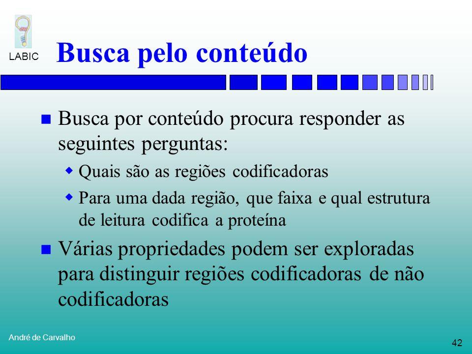 41 André de Carvalho LABIC Busca pelo conteúdo Identifica genes reconhecendo padrões que que ocorrem na sua seqüência de nucleotídeos Regiões do DNA q
