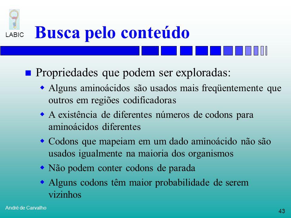 42 André de Carvalho LABIC Busca pelo conteúdo Busca por conteúdo procura responder as seguintes perguntas: Quais são as regiões codificadoras Para um