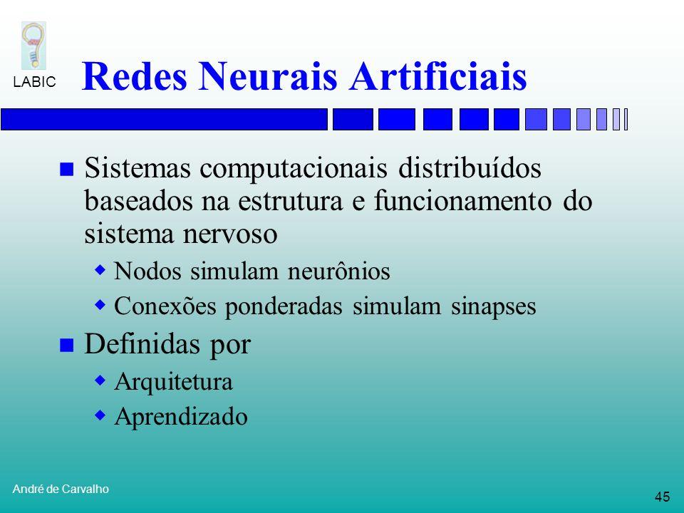 44 André de Carvalho LABIC Reconhecimento de genes Abordagens mais promissoras em reconhecimento de genes: Combinam previsão de vários sinais diferent