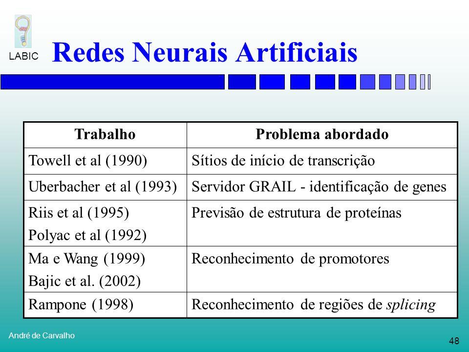47 André de Carvalho LABIC Redes Neurais Artificiais Stormo et al (1982): reconhecimento de sítios de início de tradução no DNA de bactérias E. Coli P