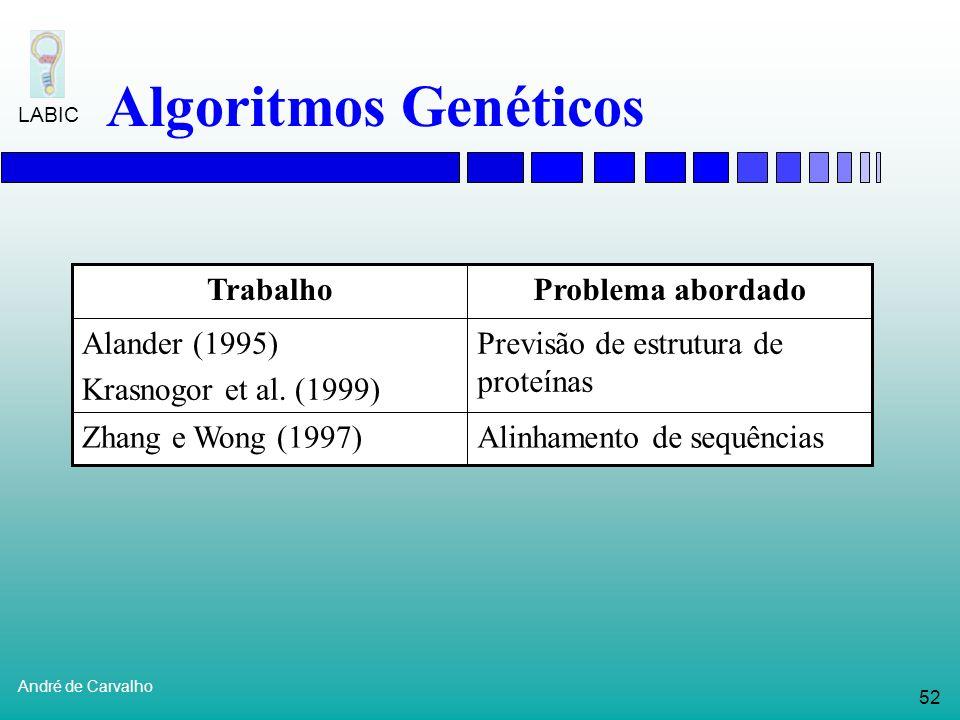51 André de Carvalho LABIC Algoritmos Genéticos Alinhamento de seqüências: Uma a uma Uma com várias Identificar: Inserções Remoções Substituições Seq