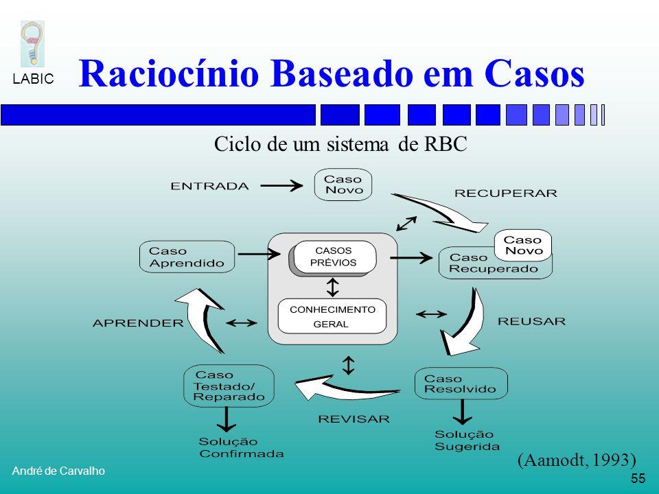 54 André de Carvalho LABIC Raciocínio Baseado em Casos RBC é mais que uma Base de Dados Não é uma tabela de busca Sistemas de RBC procuram casos passa