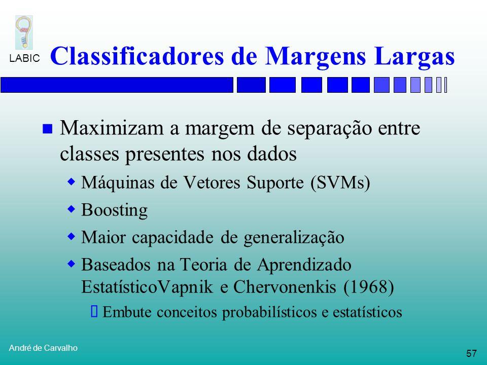 56 André de Carvalho LABIC Raciocínio Baseado em Casos Alinhamento de seqüênciasHarris et al. (1993) Reconhecimento de genesShavlik (1990, 1991) Probl