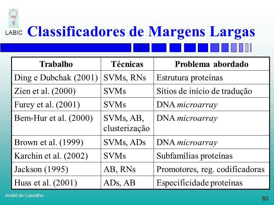 59 André de Carvalho LABIC Classificadores de Margens Largas Análise de expressão gênica Expressão Tecido normalTecido com tumor GeneT1 T2 T3T1 T2 T3