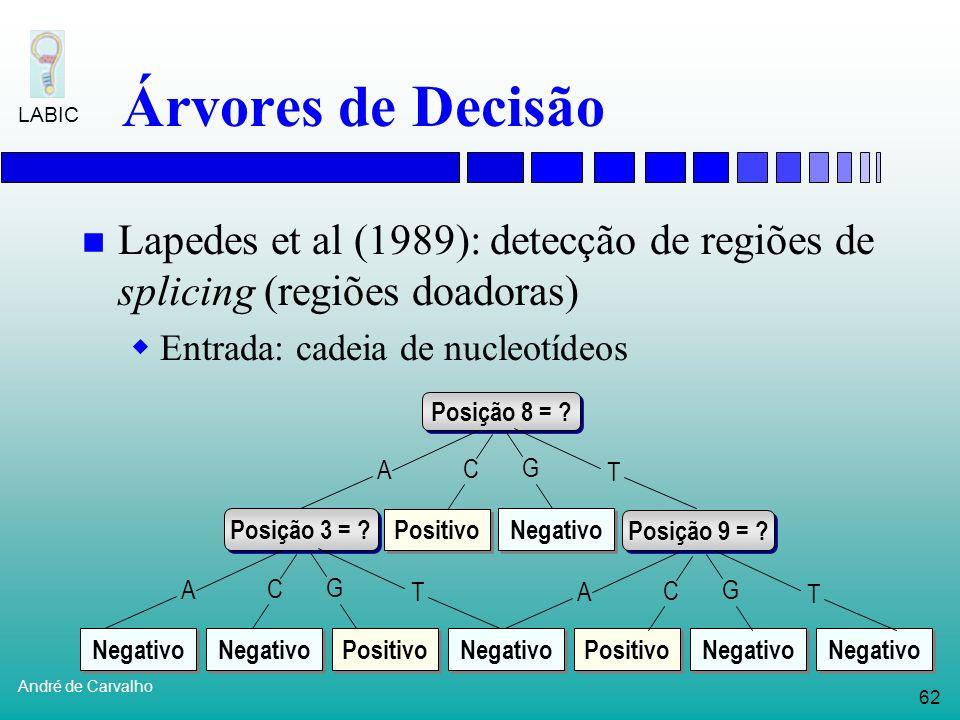 61 André de Carvalho LABIC Árvores de Decisão Organizam informações em estrutura composta de nós e ramificações Nós: testes sobre atributos; Ramos: re