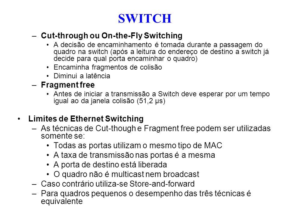 –Cut-through ou On-the-Fly Switching A decisão de encaminhamento é tomada durante a passagem do quadro na switch (após a leitura do endereço de destin