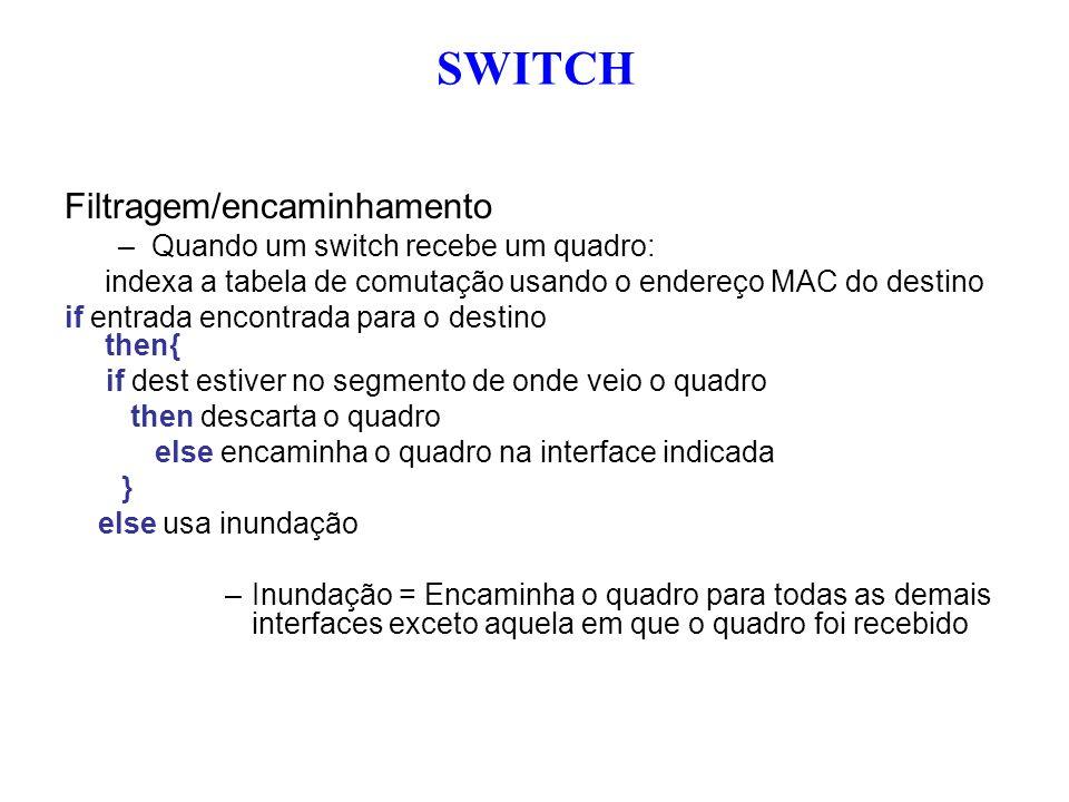 Filtragem/encaminhamento –Quando um switch recebe um quadro: indexa a tabela de comutação usando o endereço MAC do destino if entrada encontrada para