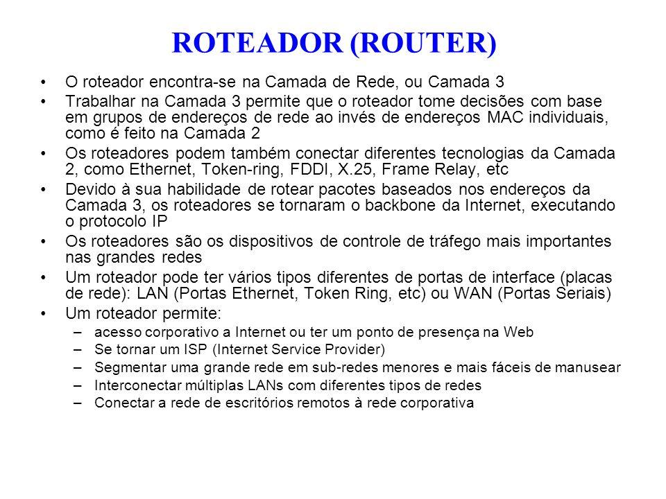 O roteador encontra-se na Camada de Rede, ou Camada 3 Trabalhar na Camada 3 permite que o roteador tome decisões com base em grupos de endereços de re