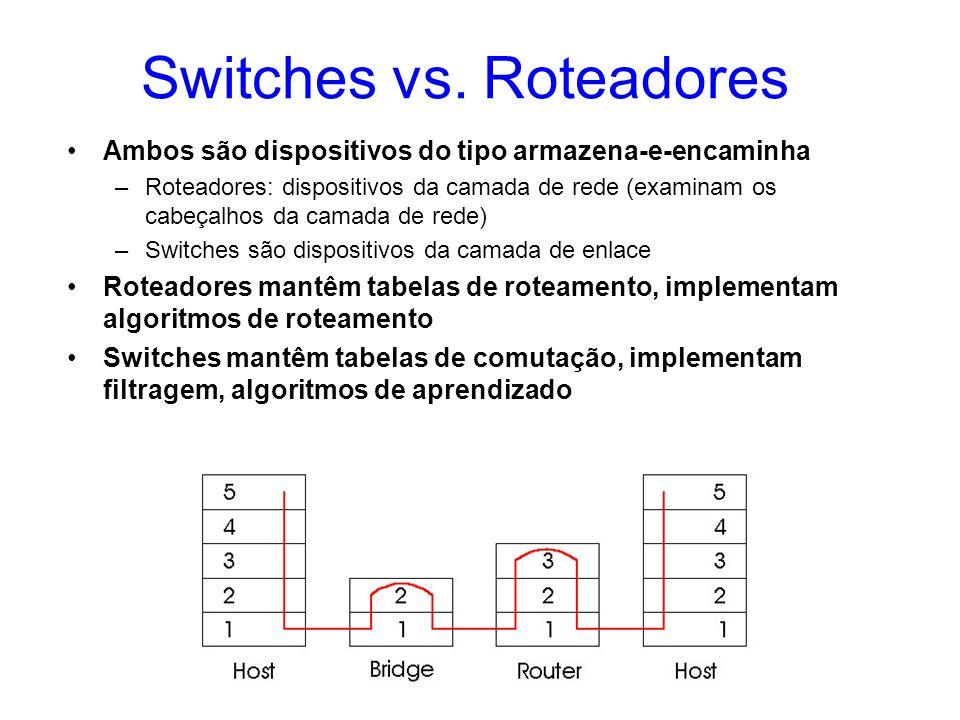 Switches vs. Roteadores Ambos são dispositivos do tipo armazena-e-encaminha –Roteadores: dispositivos da camada de rede (examinam os cabeçalhos da cam