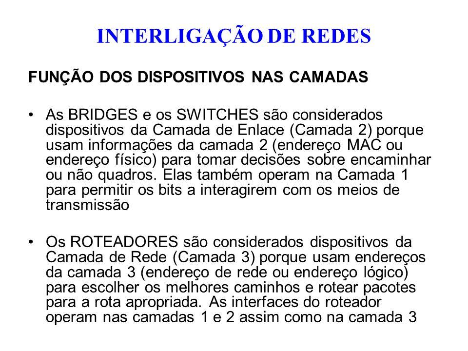 FUNÇÃO DOS DISPOSITIVOS NAS CAMADAS As BRIDGES e os SWITCHES são considerados dispositivos da Camada de Enlace (Camada 2) porque usam informações da c