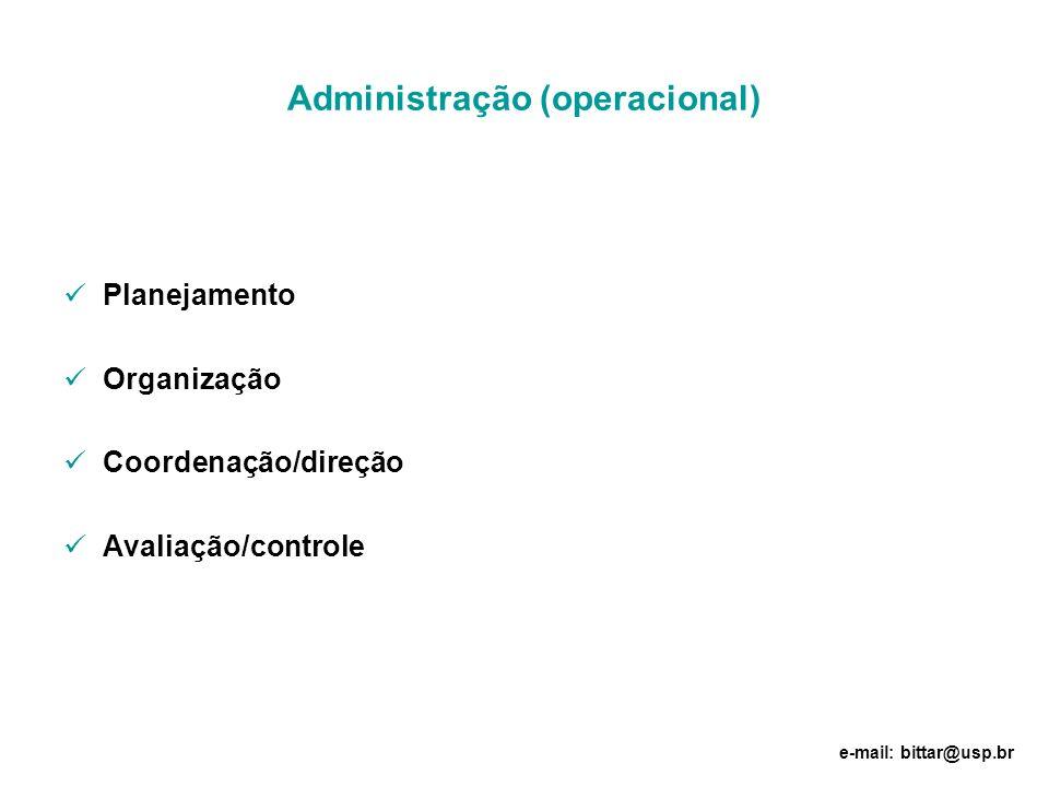 Administração (operacional) Planejamento Organização Coordenação/direção Avaliação/controle e-mail: bittar@usp.br