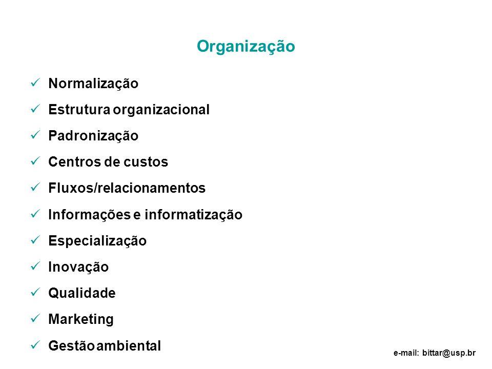 Organização Normalização Estrutura organizacional Padronização Centros de custos Fluxos/relacionamentos Informações e informatização Especialização In