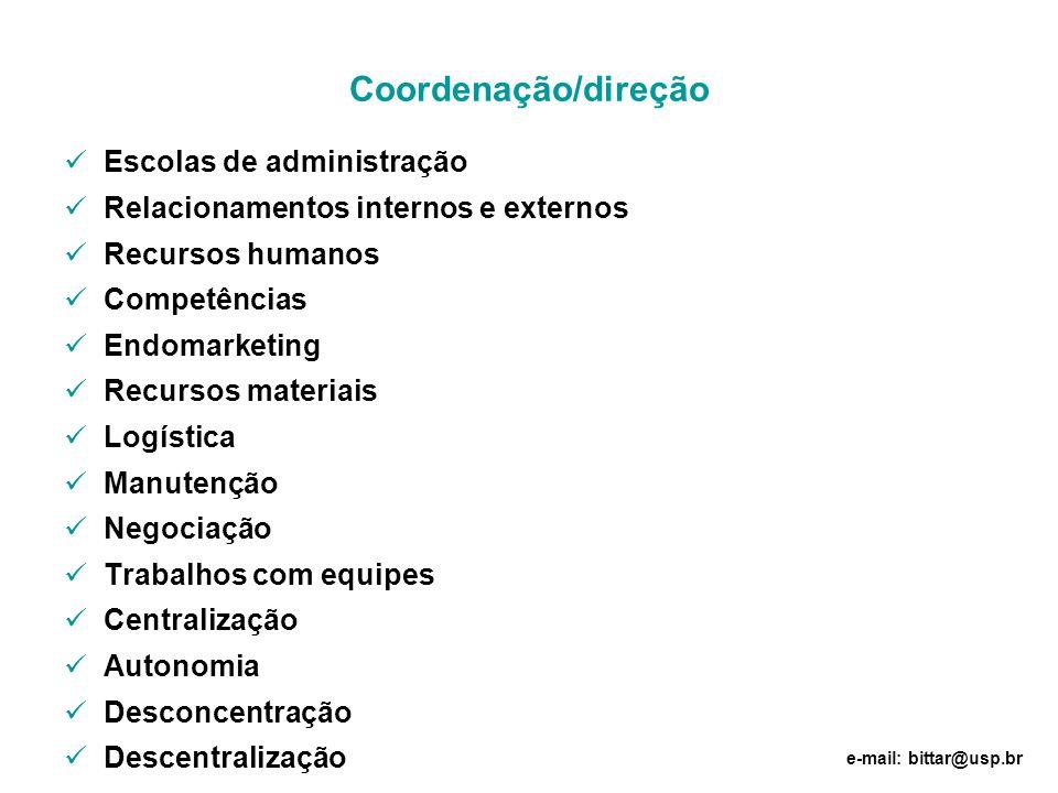 Coordenação/direção Escolas de administração Relacionamentos internos e externos Recursos humanos Competências Endomarketing Recursos materiais Logíst