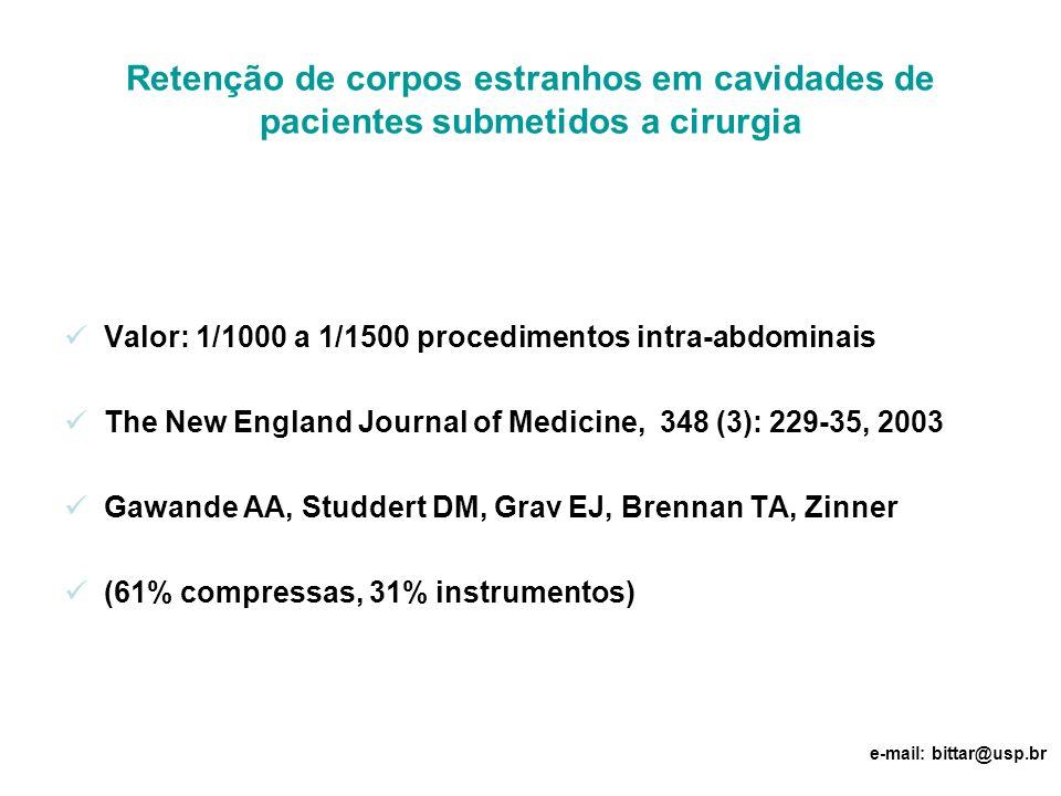 Retenção de corpos estranhos em cavidades de pacientes submetidos a cirurgia Valor: 1/1000 a 1/1500 procedimentos intra-abdominais The New England Jou