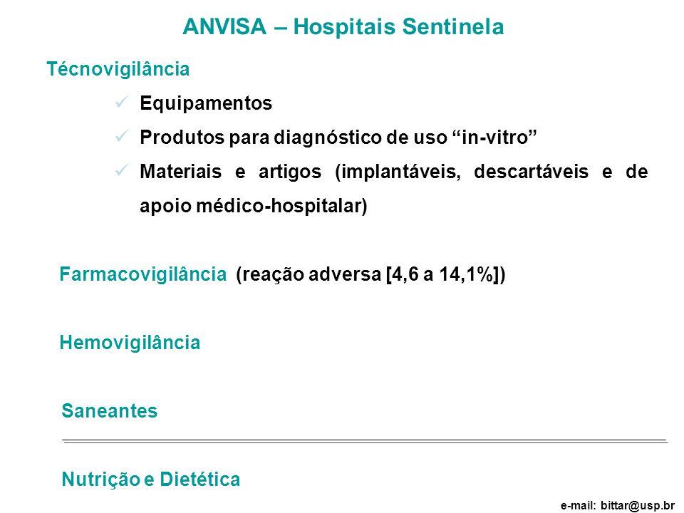 Técnovigilância Equipamentos Produtos para diagnóstico de uso in-vitro Materiais e artigos (implantáveis, descartáveis e de apoio médico-hospitalar) F