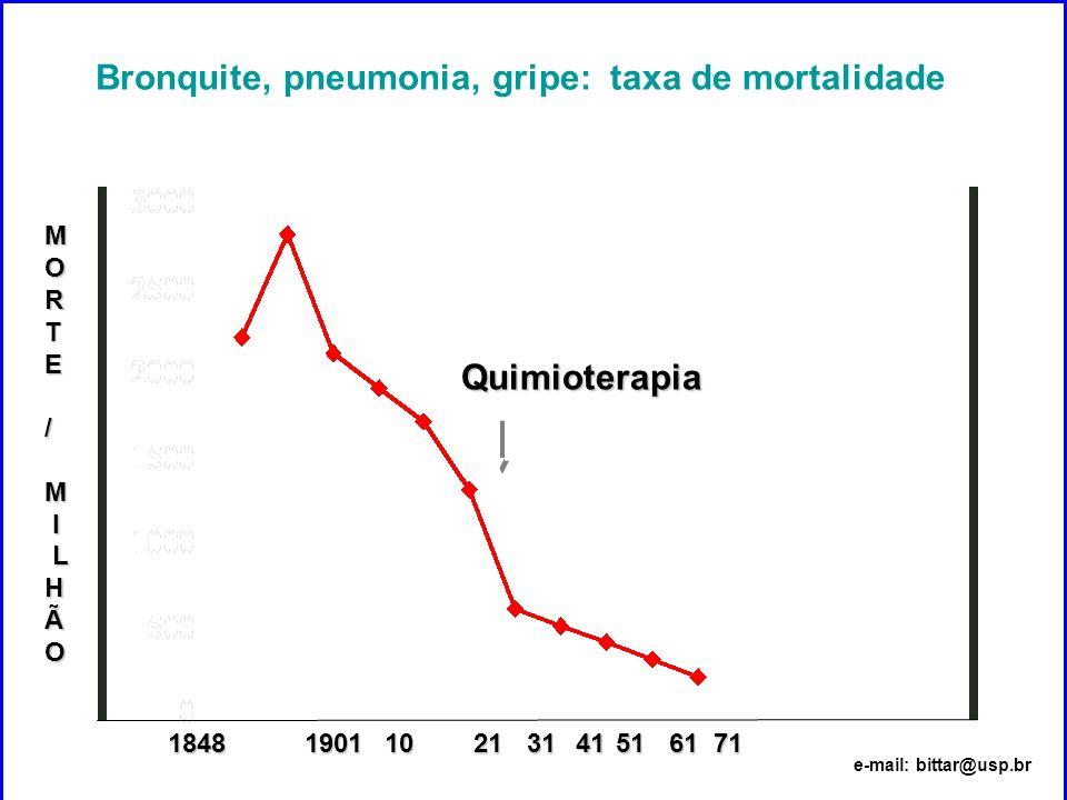 Bronquite, pneumonia, gripe: taxa de mortalidade 1848 18481019012131 Quimioterapia MORTE/M I LHÃO 51617141 e-mail: bittar@usp.br