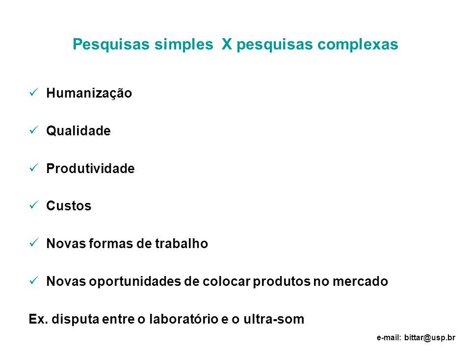 Pesquisas simples X pesquisas complexas Humanização Qualidade Produtividade Custos Novas formas de trabalho Novas oportunidades de colocar produtos no