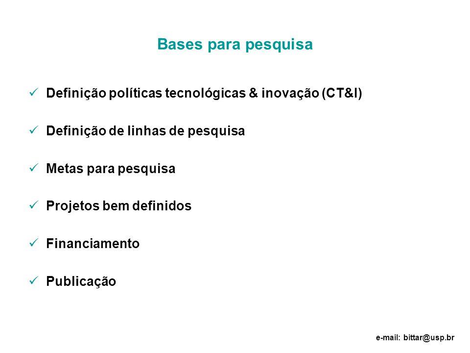 Bases para pesquisa Definição políticas tecnológicas & inovação (CT&I) Definição de linhas de pesquisa Metas para pesquisa Projetos bem definidos Fina
