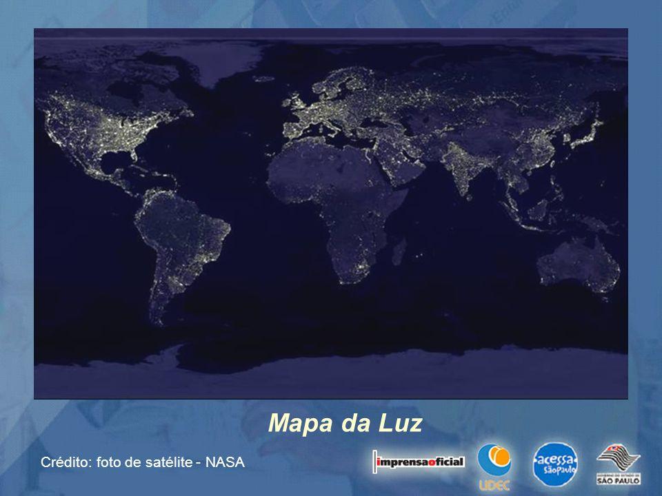 Crédito: foto de satélite - NASA Mapa da Luz