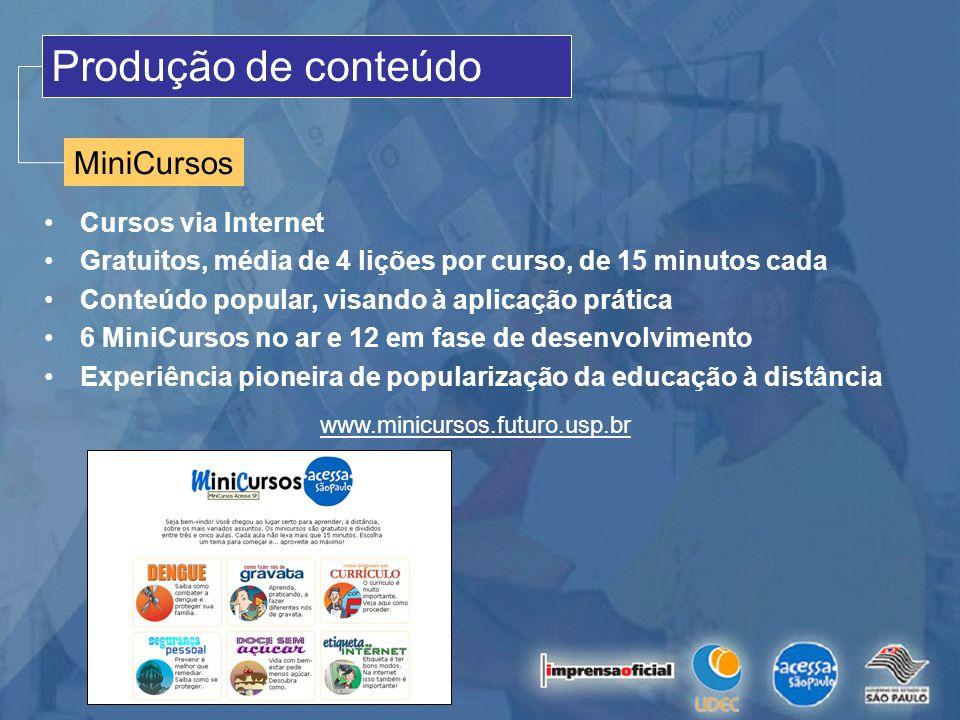 Produção de conteúdo MiniCursos Cursos via Internet Gratuitos, média de 4 lições por curso, de 15 minutos cada Conteúdo popular, visando à aplicação p