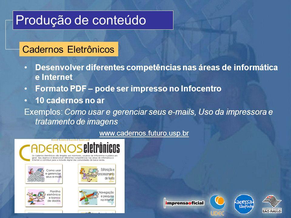 Produção de conteúdo Cadernos Eletrônicos Desenvolver diferentes competências nas áreas de informática e Internet Formato PDF – pode ser impresso no I