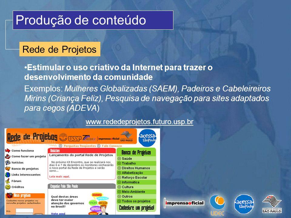 Produção de conteúdo Rede de Projetos Estimular o uso criativo da Internet para trazer o desenvolvimento da comunidade Exemplos: Mulheres Globalizadas