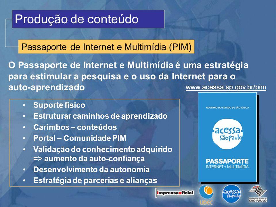 Produção de conteúdo Passaporte de Internet e Multimídia (PIM) O Passaporte de Internet e Multimídia é uma estratégia para estimular a pesquisa e o us
