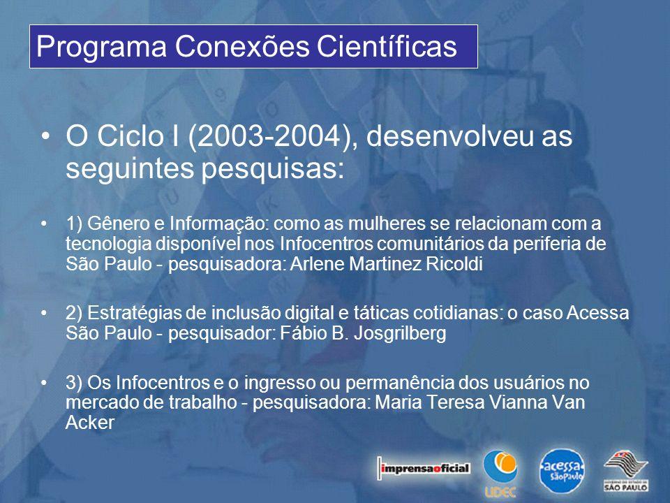 O Ciclo I (2003-2004), desenvolveu as seguintes pesquisas: 1) Gênero e Informação: como as mulheres se relacionam com a tecnologia disponível nos Info