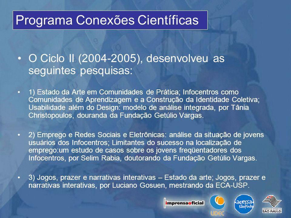 O Ciclo II (2004-2005), desenvolveu as seguintes pesquisas: 1) Estado da Arte em Comunidades de Prática; Infocentros como Comunidades de Aprendizagem