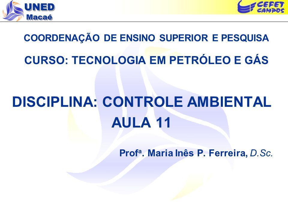 UNED Macaé COORDENAÇÃO DE ENSINO SUPERIOR E PESQUISA CURSO: TECNOLOGIA EM PETRÓLEO E GÁS DISCIPLINA: CONTROLE AMBIENTAL AULA 11 Prof a. Maria Inês P.