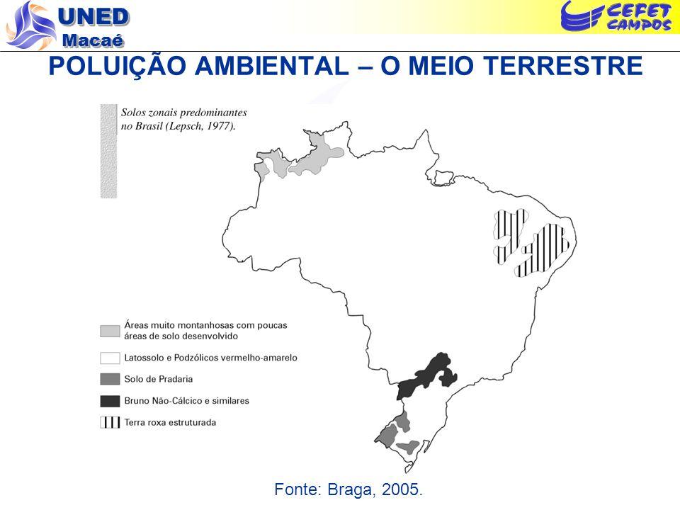 UNED Macaé POLUIÇÃO AMBIENTAL – O MEIO TERRESTRE Fonte: Braga, 2005.