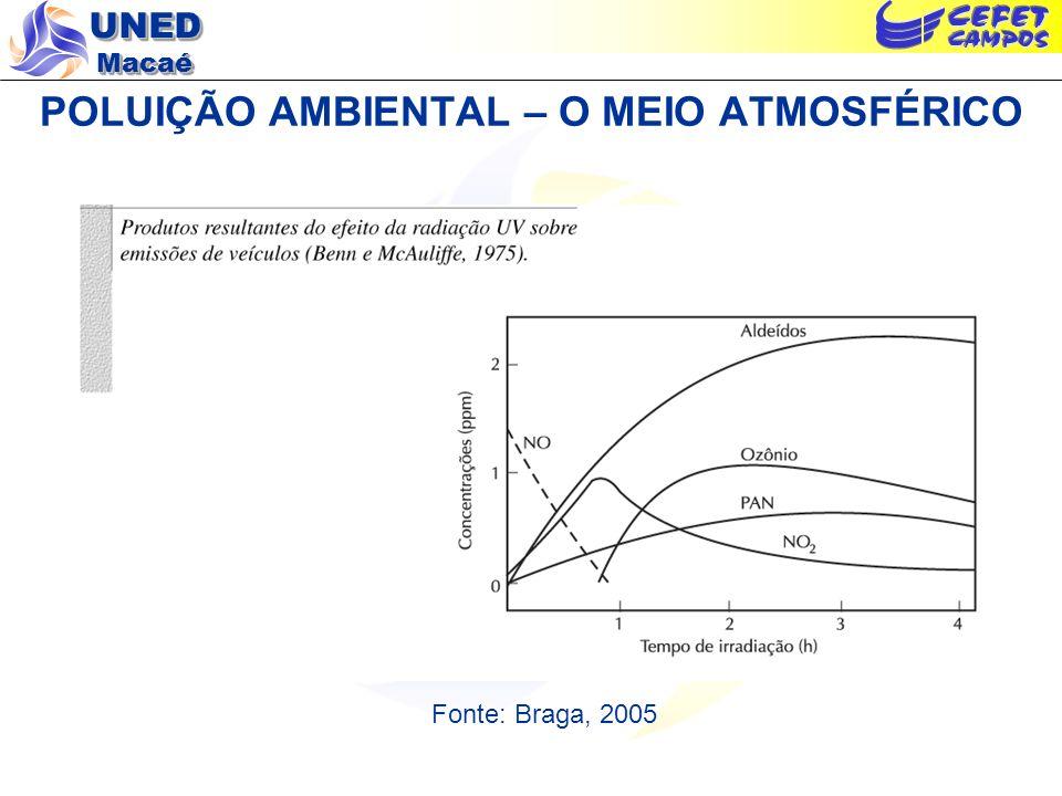 UNED Macaé POLUIÇÃO AMBIENTAL – O MEIO ATMOSFÉRICO Fonte: Braga, 2005