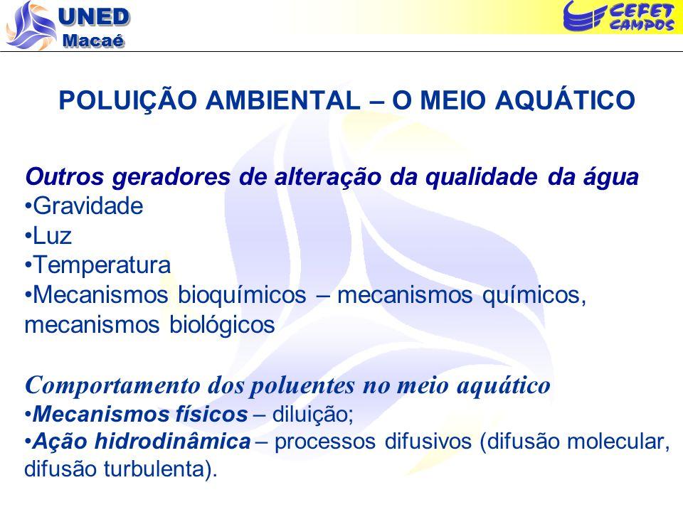 UNED Macaé POLUIÇÃO AMBIENTAL – O MEIO AQUÁTICO Outros geradores de alteração da qualidade da água Gravidade Luz Temperatura Mecanismos bioquímicos –