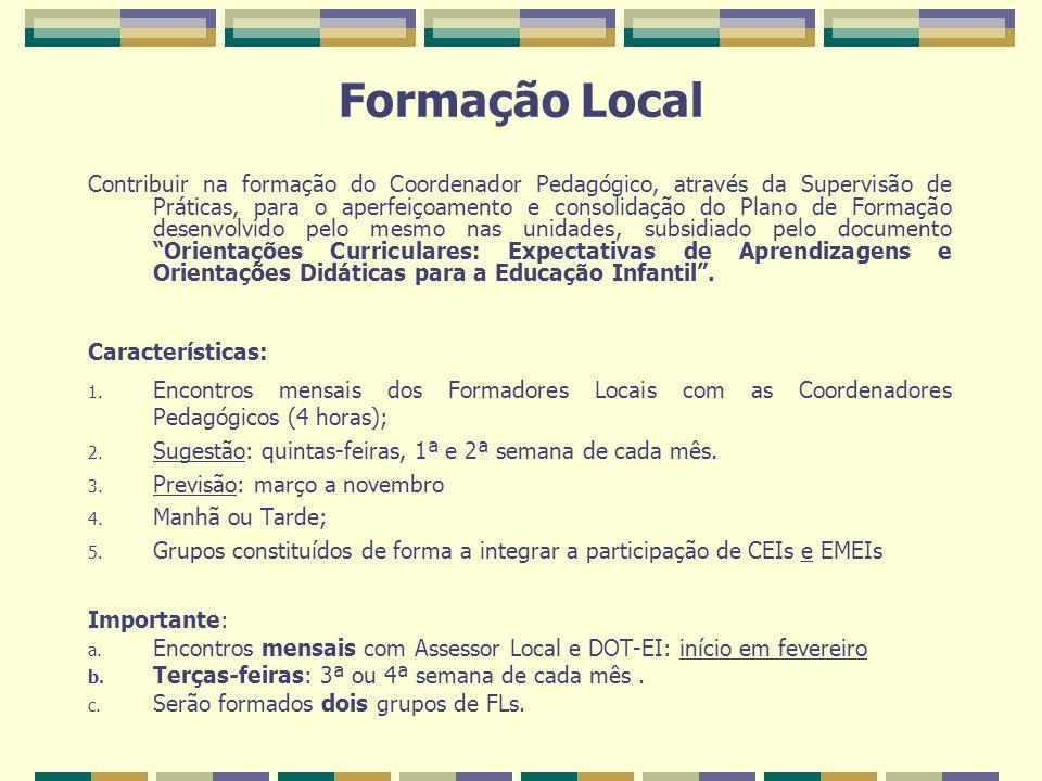 Formação Local Contribuir na formação do Coordenador Pedagógico, através da Supervisão de Práticas, para o aperfeiçoamento e consolidação do Plano de