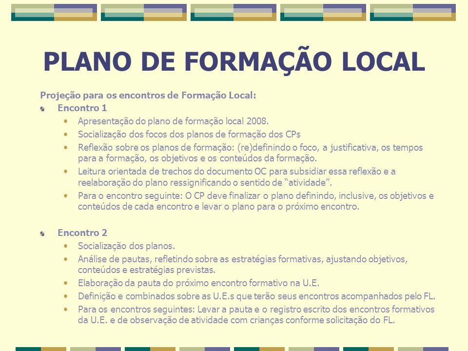 PLANO DE FORMAÇÃO LOCAL Projeção para os encontros de Formação Local: Encontro 1 Apresentação do plano de formação local 2008. Socialização dos focos
