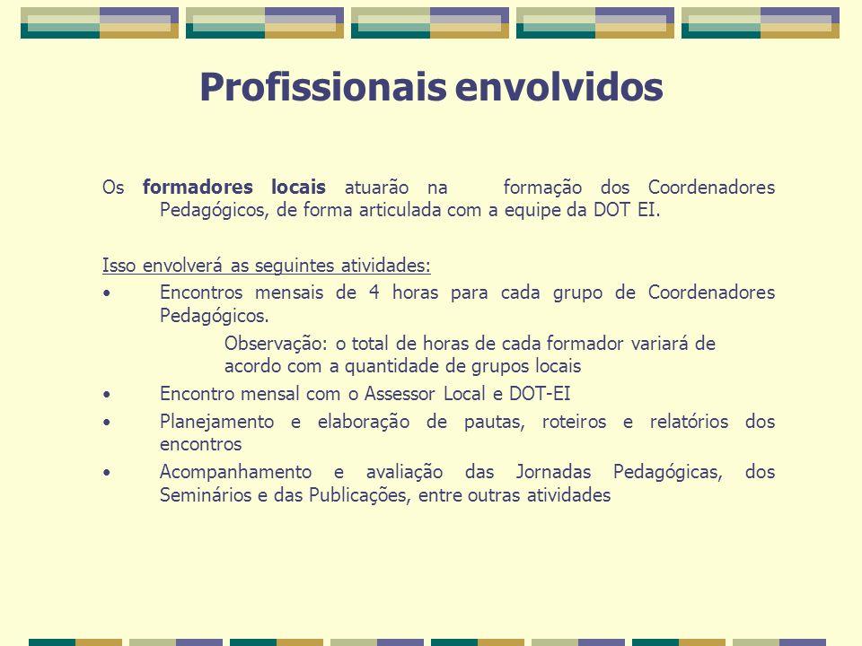 Profissionais envolvidos Os formadores locais atuarão na formação dos Coordenadores Pedagógicos, de forma articulada com a equipe da DOT EI. Isso envo