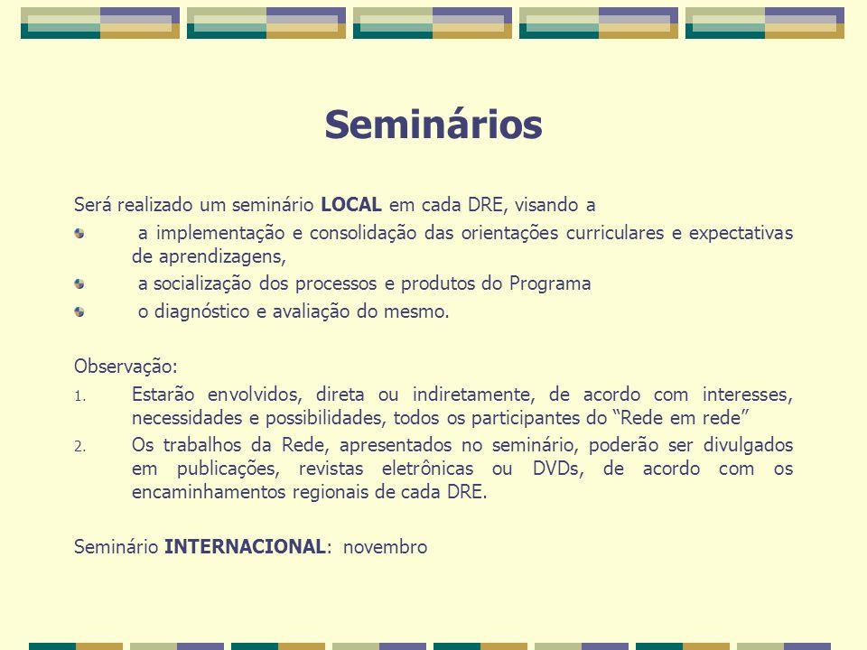 Seminários Será realizado um seminário LOCAL em cada DRE, visando a a implementação e consolidação das orientações curriculares e expectativas de apre
