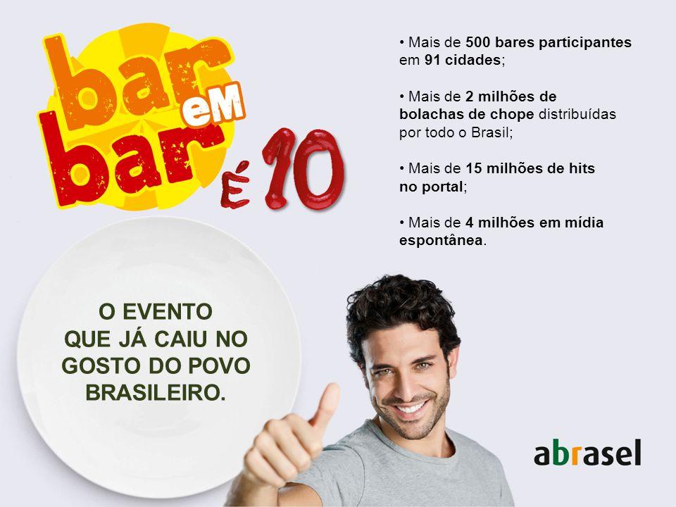 O EVENTO QUE JÁ CAIU NO GOSTO DO POVO BRASILEIRO. Mais de 500 bares participantes em 91 cidades; Mais de 2 milhões de bolachas de chope distribuídas p