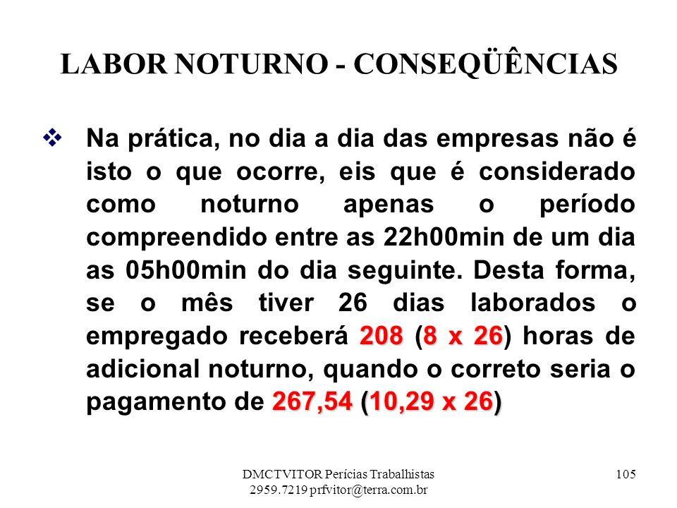 LABOR NOTURNO - CONSEQÜÊNCIAS 2088 x 26 267,54 (10,29 x 26) Na prática, no dia a dia das empresas não é isto o que ocorre, eis que é considerado como