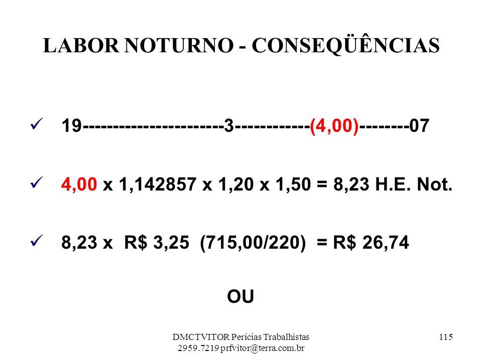 LABOR NOTURNO - CONSEQÜÊNCIAS 19-----------------------3------------(4,00)--------07 4,00 x 1,142857 x 1,20 x 1,50 = 8,23 H.E. Not. 8,23 x R$ 3,25 (71