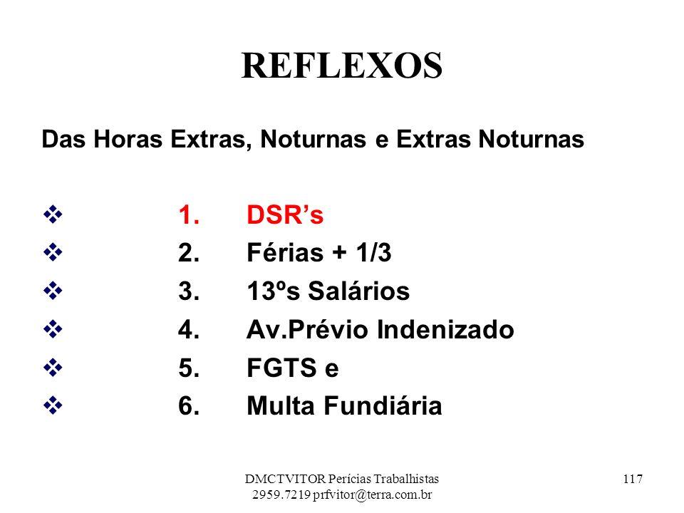 REFLEXOS Das Horas Extras, Noturnas e Extras Noturnas 1. DSRs 2. Férias + 1/3 3. 13ºs Salários 4. Av.Prévio Indenizado 5.FGTS e 6.Multa Fundiária 117D