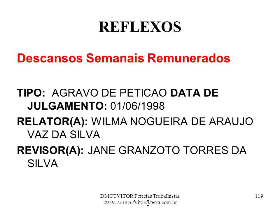 REFLEXOS Descansos Semanais Remunerados TIPO: AGRAVO DE PETICAO DATA DE JULGAMENTO: 01/06/1998 RELATOR(A): WILMA NOGUEIRA DE ARAUJO VAZ DA SILVA REVIS