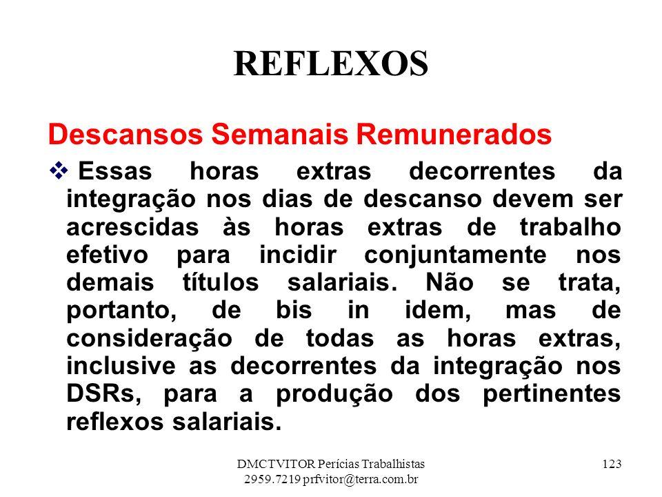 REFLEXOS Descansos Semanais Remunerados Essas horas extras decorrentes da integração nos dias de descanso devem ser acrescidas às horas extras de trab