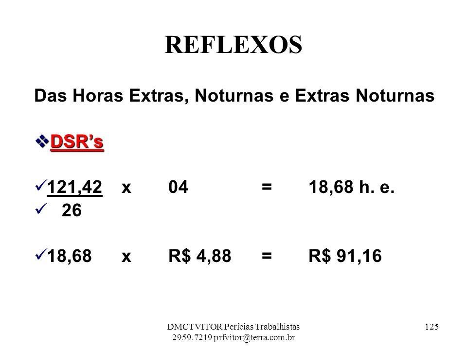 REFLEXOS Das Horas Extras, Noturnas e Extras Noturnas DSRs DSRs 121,42 x 04 = 18,68 h. e. 26 18,68 x R$ 4,88 = R$ 91,16 125DMCTVITOR Perícias Trabalhi
