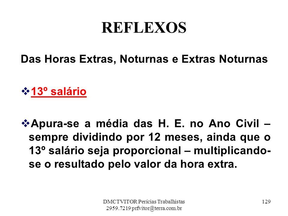 REFLEXOS Das Horas Extras, Noturnas e Extras Noturnas 13º salário Apura-se a média das H. E. no Ano Civil – sempre dividindo por 12 meses, ainda que o