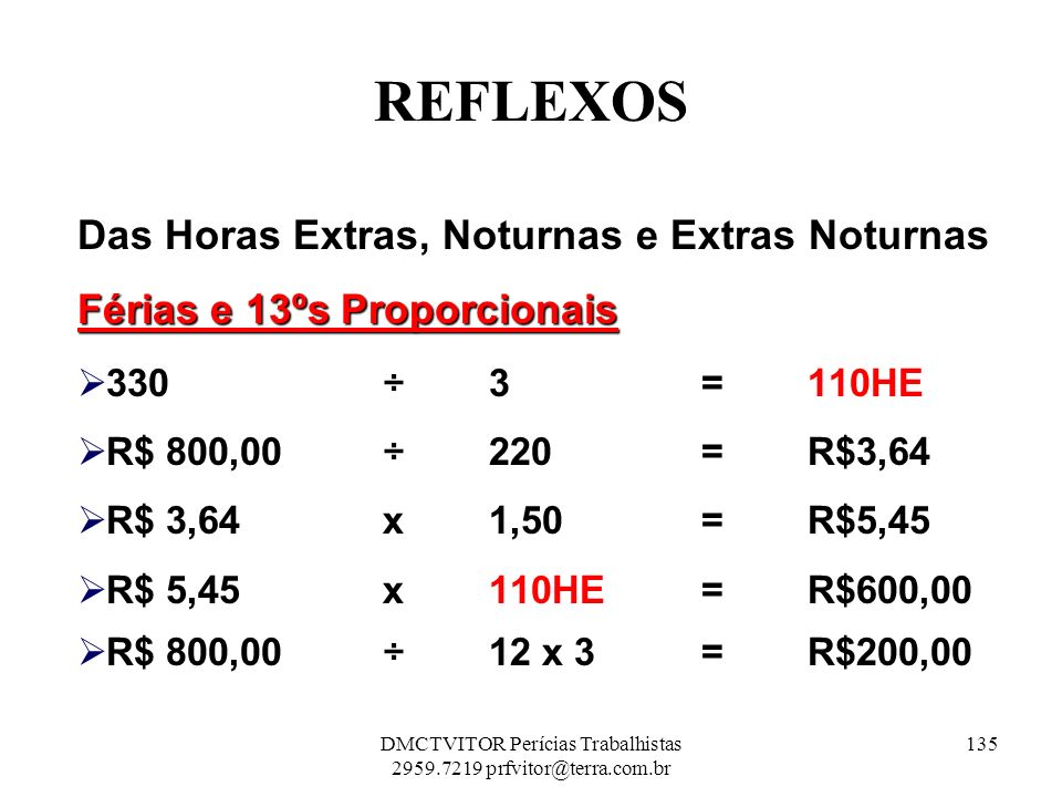 REFLEXOS Das Horas Extras, Noturnas e Extras Noturnas Férias e 13ºs Proporcionais 330 ÷ 3 = 110HE R$ 800,00 ÷ 220 = R$3,64 R$ 3,64 x 1,50= R$5,45 R$ 5