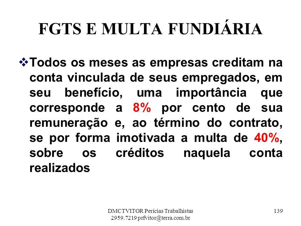 FGTS E MULTA FUNDIÁRIA Todos os meses as empresas creditam na conta vinculada de seus empregados, em seu benefício, uma importância que corresponde a