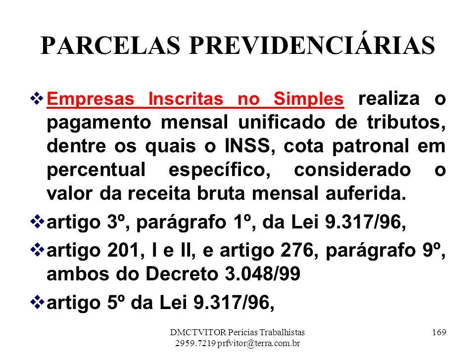 PARCELAS PREVIDENCIÁRIAS Empresas Inscritas no Simples realiza o pagamento mensal unificado de tributos, dentre os quais o INSS, cota patronal em perc